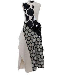 Marni Cotton Linen Canvas Sleeveless Dress with Flower Embellishment - Lyst