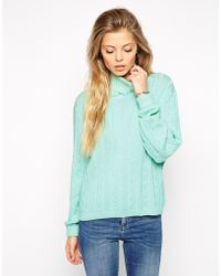 Asos Cable Sweater With Roll Neck - Lyst