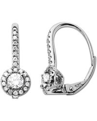 Lord & Taylor - 0.50 Ct T W Diamond Hoop Earrings In 14 Kt White Gold - Lyst