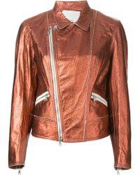 3.1 Phillip Lim Metallic Sheen Boxy Biker Jacket - Lyst