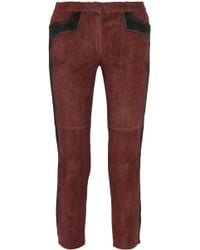 Isabel Marant Eminoy Cropped Stretchsuede Skinny Pants - Lyst