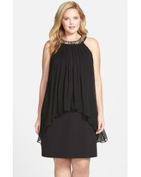Vince Camuto Embellished Trapeze-Overlay Dress - Lyst