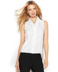 Calvin Klein Sleeveless Button-Front Shirt - Lyst