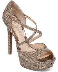 Jessica Simpson Metallic Platform Heels - Lyst