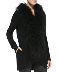 Joie Caralynn Fur-collar Knit Sweater Caviar X-small - Lyst