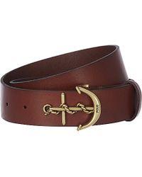 Ralph Lauren Anchor Buckle Leather Belt - Lyst