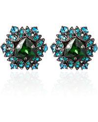 Lanvin - Green Icon Crystal Clipon Earrings - Lyst