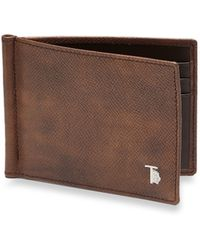 Tod's Leather Money Clip Wallet brown - Lyst