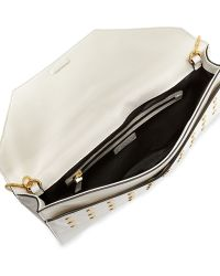 MILLY - Kent Grommet Flap Clutch Bag White - Lyst