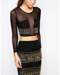 Asos Exclusive Co-ord Long Sleeve Crop Top with Embellishment - Lyst