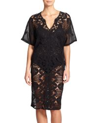 Miguelina Kate Scalloped-Lace Cotton Caftan - Lyst