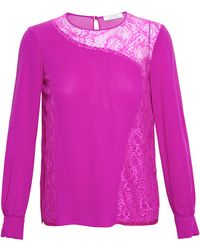 Nina Ricci Silk Crepe De Chine Top with Lace Inserts - Lyst