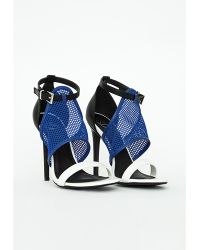 Missguided Mesh Contrast Heeled Sandals - Lyst