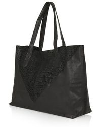 Topshop Leather And Suede Shopper Bag - Lyst