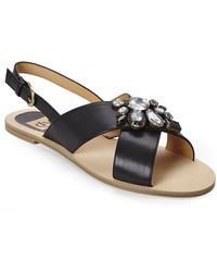 DV by Dolce Vita | Black Odeliah Jeweled Flat Sandals | Lyst