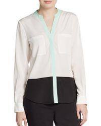 Ivanka Trump Colorblock Button-Front Blouse - Lyst