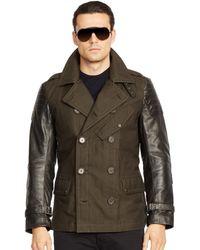 Ralph Lauren Moto Leather-Sleeved Pea Coat - Lyst