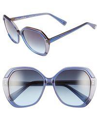 Oscar de la Renta - 55mm Square Sunglasses - Navy - Lyst