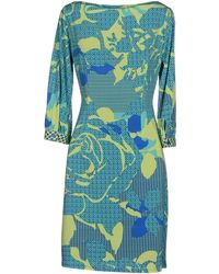 Blumarine Short Dress teal - Lyst