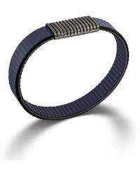 John Hardy Station On Blue Stripe Leather Bracelet with Black Oxidation - Lyst