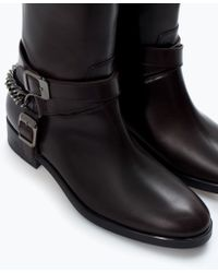 Zara Flat Leather Bootie with Buckles - Lyst