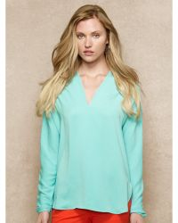 Ralph Lauren Blue Label Washed-satin V-neck Blouse - Lyst