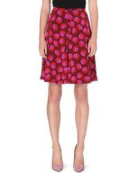 Diane Von Furstenberg Rosalita Printed Silk Skirt Red - Lyst