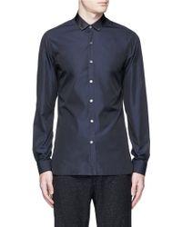 Lanvin | Grosgrain Collar Cotton Poplin Shirt | Lyst