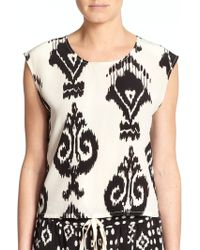 Pam & Gela Printed Silk Open-Back Top - Lyst