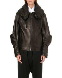 Yohji Yamamoto Overized Leather Jacket Black - Lyst