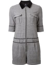 Loveless - Checked Zipped Playsuit - Lyst