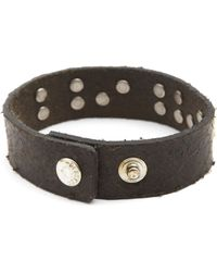 Diesel Albin Aged Brown Leather Bracelet with Rusted Lettering - Lyst