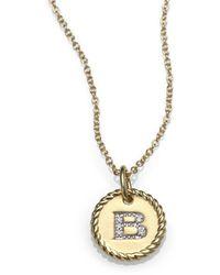 David Yurman 18k Yellow Gold Initial Pendant Necklace - Lyst