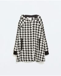 Zara Black Houndstooth Cape - Lyst