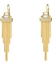 Vince Camuto Stone & Fringe Lever Back Earring - Lyst