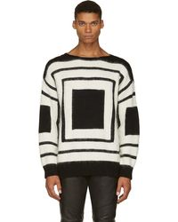 Alexander McQueen Black and White Mohair Square Sweater - Lyst