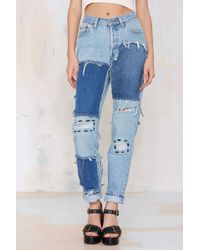 Nasty Gal After Party Vintage Riot Patch Jeans - Lyst