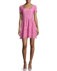Valentino Lace Square-Neck Short-Sleeved Dress - Lyst