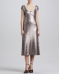 Marc Jacobs Brushed Metal Sequins Dress - Lyst