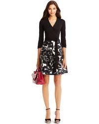 Diane von Furstenberg Dvf Jewel Silk Combo Wrap Dress black - Lyst