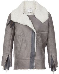 Iro Long Sleeve Shearling Moto Jacket - Lyst