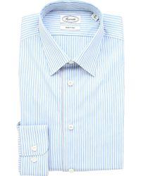 Faconnable Striped Singlecuff Cotton Shirt White - Lyst