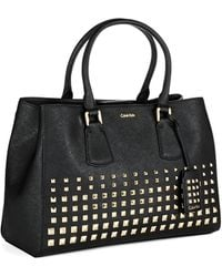 Calvin Klein Studded Leather Tote - Lyst