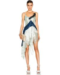 Rodarte Beaded Tulle & Lame Dress blue - Lyst