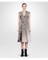 Bottega Veneta Dark Mist Nero Monalisa Optical Print Technical Crepe Dress - Lyst