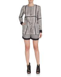 Rachel Zoe Scarf Print Short Silk Jumpsuit - Lyst