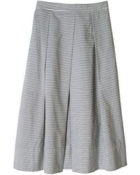 Tibi Striped Pleated Midi Skirt - Lyst