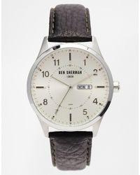 Ben Sherman Black Leather Strap Watch Wb002S - Lyst