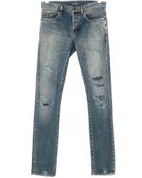 Saint Laurent Jeans Destroyed Skinny Fit Blu blue - Lyst