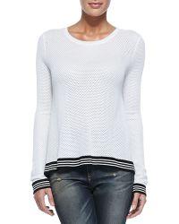 Rag & Bone/JEAN Nikki Split-Back Sweater W/ Striped Trim - Lyst
